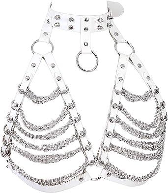 Reggiseno da donna in pelle punk pettorina goth cintura corpo imbracatura accessori danza catena di metallo Rock Carnival