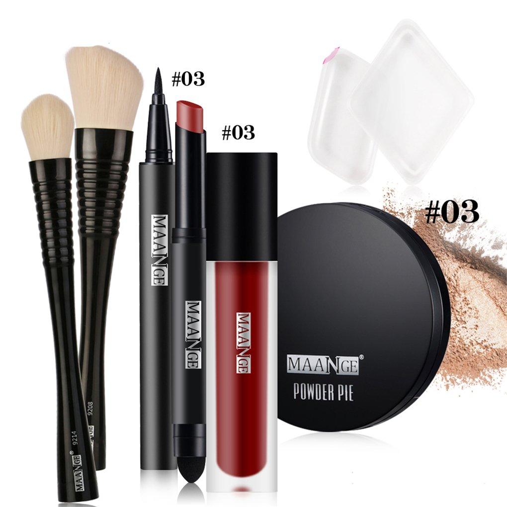 BrilliantDay Juego de maquillaje pintalabios mate polvo compacto brillo de labios líquido Delineador de ojos Cepillo de Fundación#1
