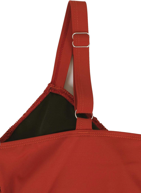 JINXUEER Womens Plus Size Swimsuit Tankini Set Ruffle Swimwear Solid Two Pieces Lace Mesh Bathing Suit