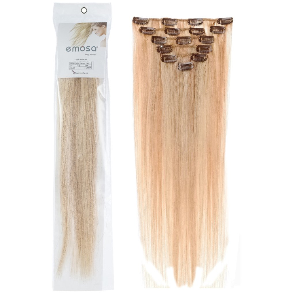 Emosa 18 inch Full Head Remy Human Hair Extensions Clip In Human Hair Silky Soft 7Pcs 70g
