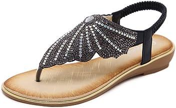 125da4f48446 ... Roman Gladiator Flip Flops Petal Flower Shoes.  23.99. See buying  options. 2018 Fashion European   American Sandals Ethnic Rhinestone Flat  Shoes