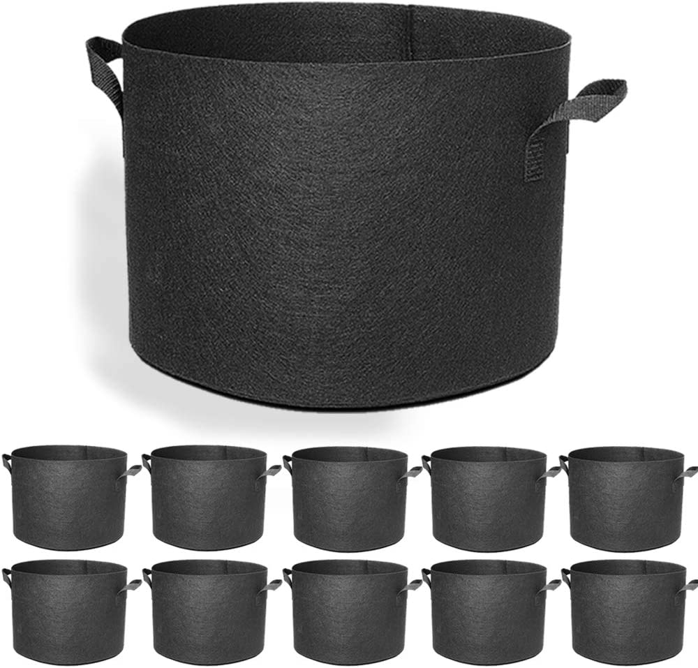 EACHON 5 Gallon 10-Pack Fabric Grow Pots Planting Pots Non-Woven Fabric Planter for Gardening with Handles Black (5 Gallon-10Pack)