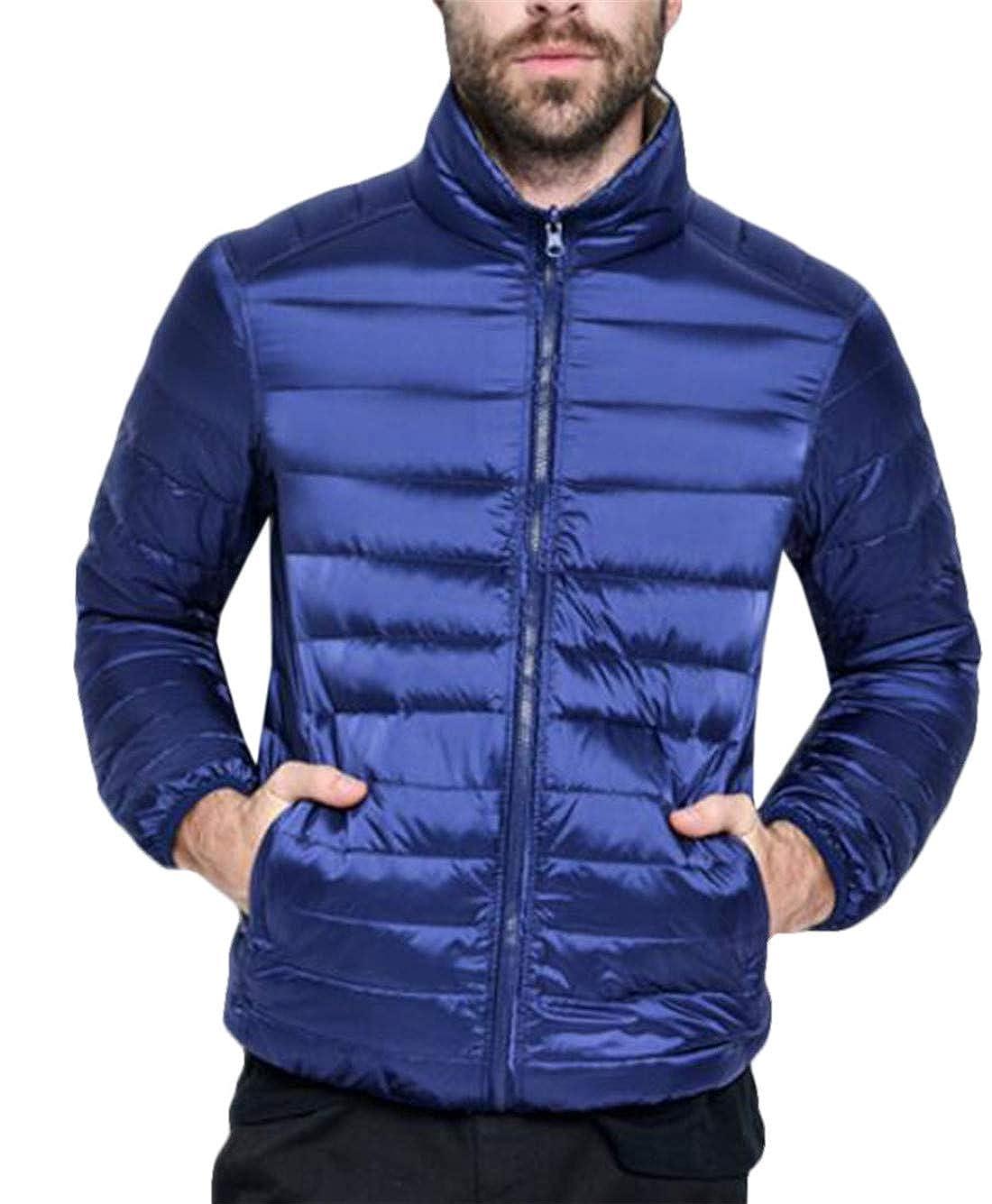 UUYUK Men Zip Front Stand Collar Lightweight Packable Slim Puffer Down Jacket