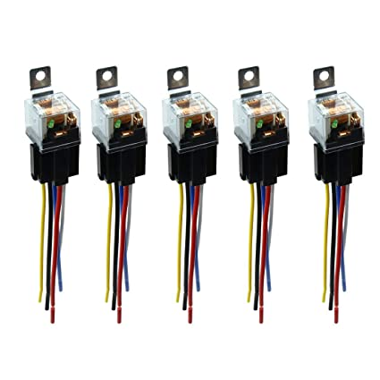 uxcell DC 12V 80A SPDT Automotive Car Relay 5 Pin 5 Wires w//Harness Socket Plug