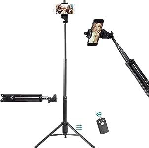 Ottertooth Selfie Stick Tripod, Extra Long 137 cm Extendable Tripod Stand with Wireless Remote Shutter, Camera Tripod, Phone Tripod, (AU1-1688)