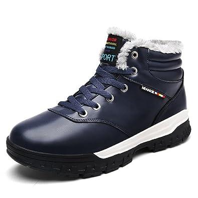 Schuhchan Herren Schneestiefel Warm Gefütterte Winterschuhe Outdoor Boots, Schwarz 48 EU