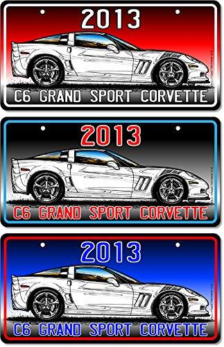 2013 C6 Grand Sport Corvette Coupe Art - Red, Black-to-White, Blue, 3-Up