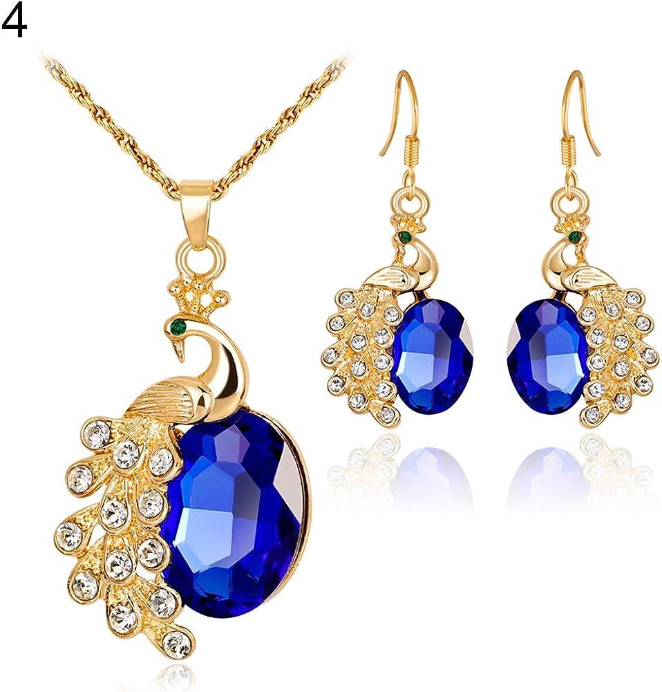 Momangel - Collar con colgante de pavo real con diamantes de imitación y pendientes de tuerca para bodas, fiestas, banquetes y cócteles
