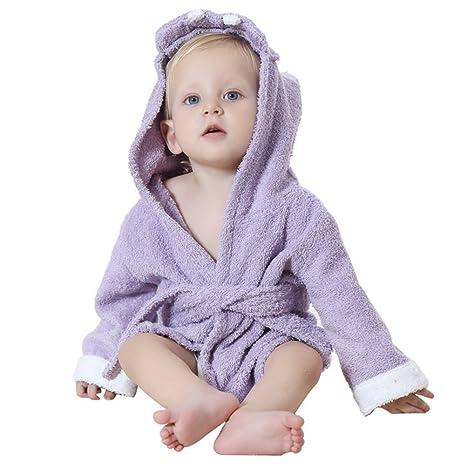 Vlunt Super suave absorbente algodón orgánico Baby Boy y niña algodón bebé Animal con capucha de