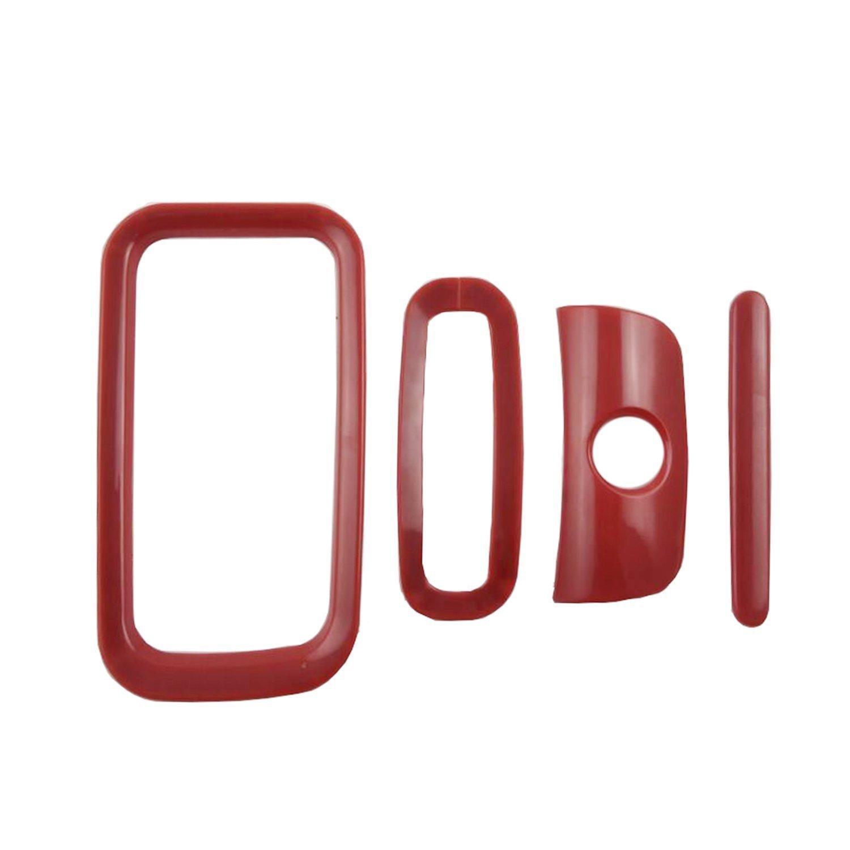Anzene 4PCS Red Interior Decoration Trim Kit for JK 2011-2017