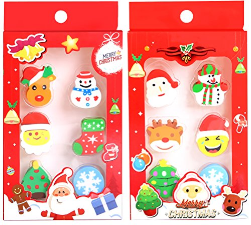 Christmas Holiday Pencil Erasers Cartoon Xmas Tree Santa Claus Snowman Patterns Gift Set for Children or Students