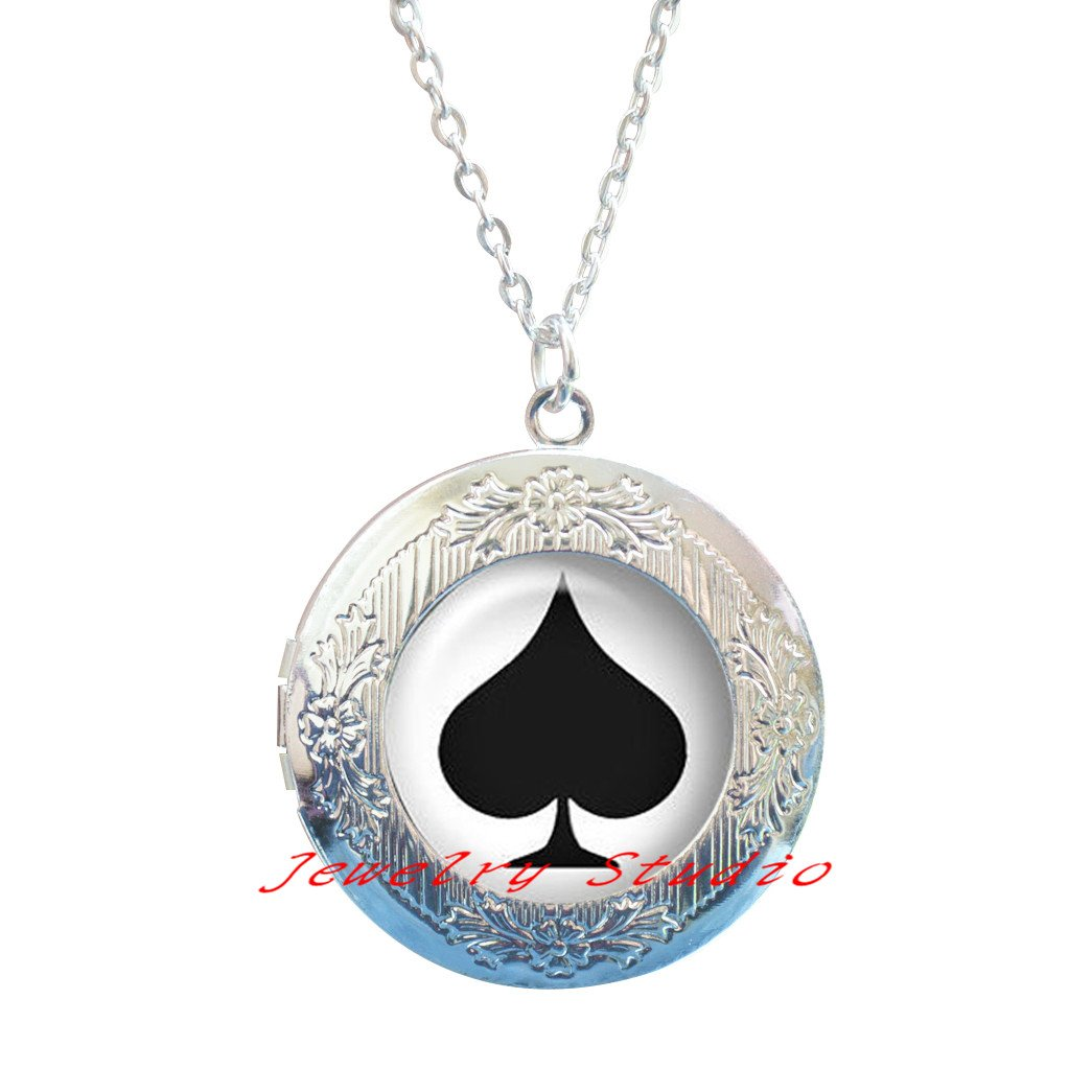 Locket Necklace clip-HZ00326 lucky Locket Necklace black spades and red hearts Locket Necklace gamble Locket Necklace Poker Locket Necklace Fashion silver Locket Necklace jewelry