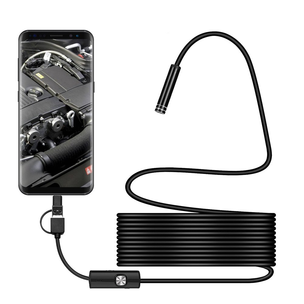 Alimao 3in1 Android USB Type-C Endoscope Inspection 7mm Camera 6 LED HD Waterproof 1M