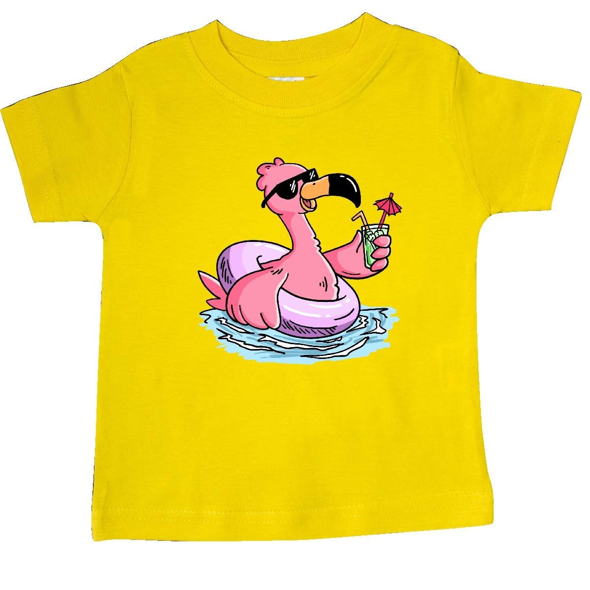inktastic Flamingo with Sunglasses Pool Float and Drink Baby T-Shirt