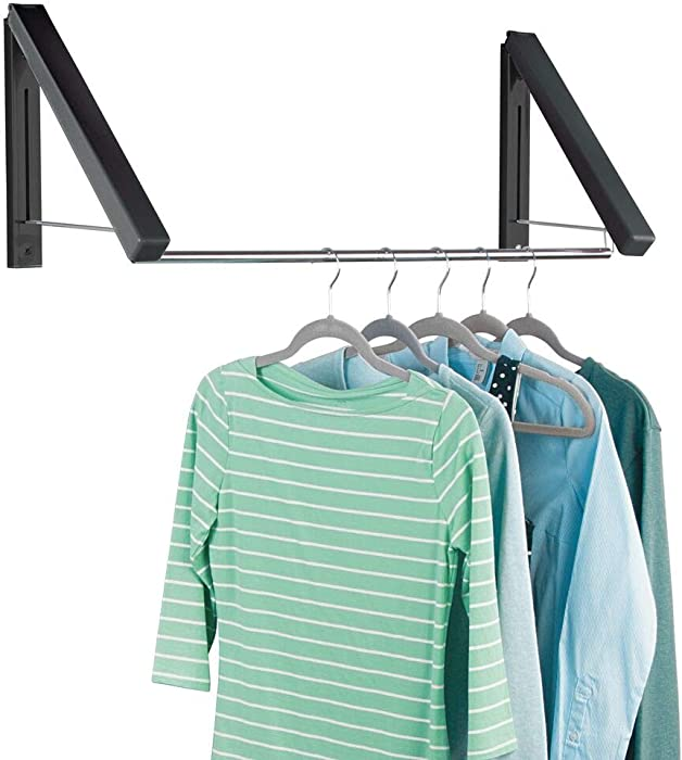 mDesign Expandable Metal Wall Mount Clothes Air Drying Rack - for Indoor Air Drying and Hanging Clothing, Towels, Lingerie, Hosiery, Delicates - Great for Laundry Room, Bathroom, Utility Area - Black