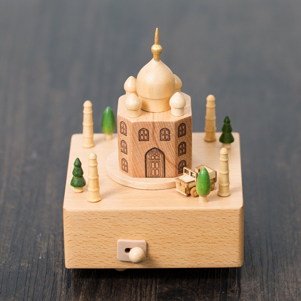 BWLZSP 1 PCS New Creative Wooden India Taj Mahal Music Box Decoration Manual Music Box Birthday Valentine's Day Gift AP524944