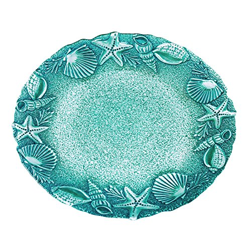 Amici Home, A7TD201R, Amalfi Collection Seashells Relief Round Serving Platter, Glass Serveware, Made in Turkey, 13 Inch Diameter