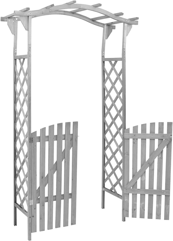 Arco de Jard/ín P/érgolade Jard/ín Subiendo Las Plantas Arco de Rosas Cenador de Exterior Madera Maciza Abeto Gris 120x60x206 cm Galapare P/érgola con Puerta