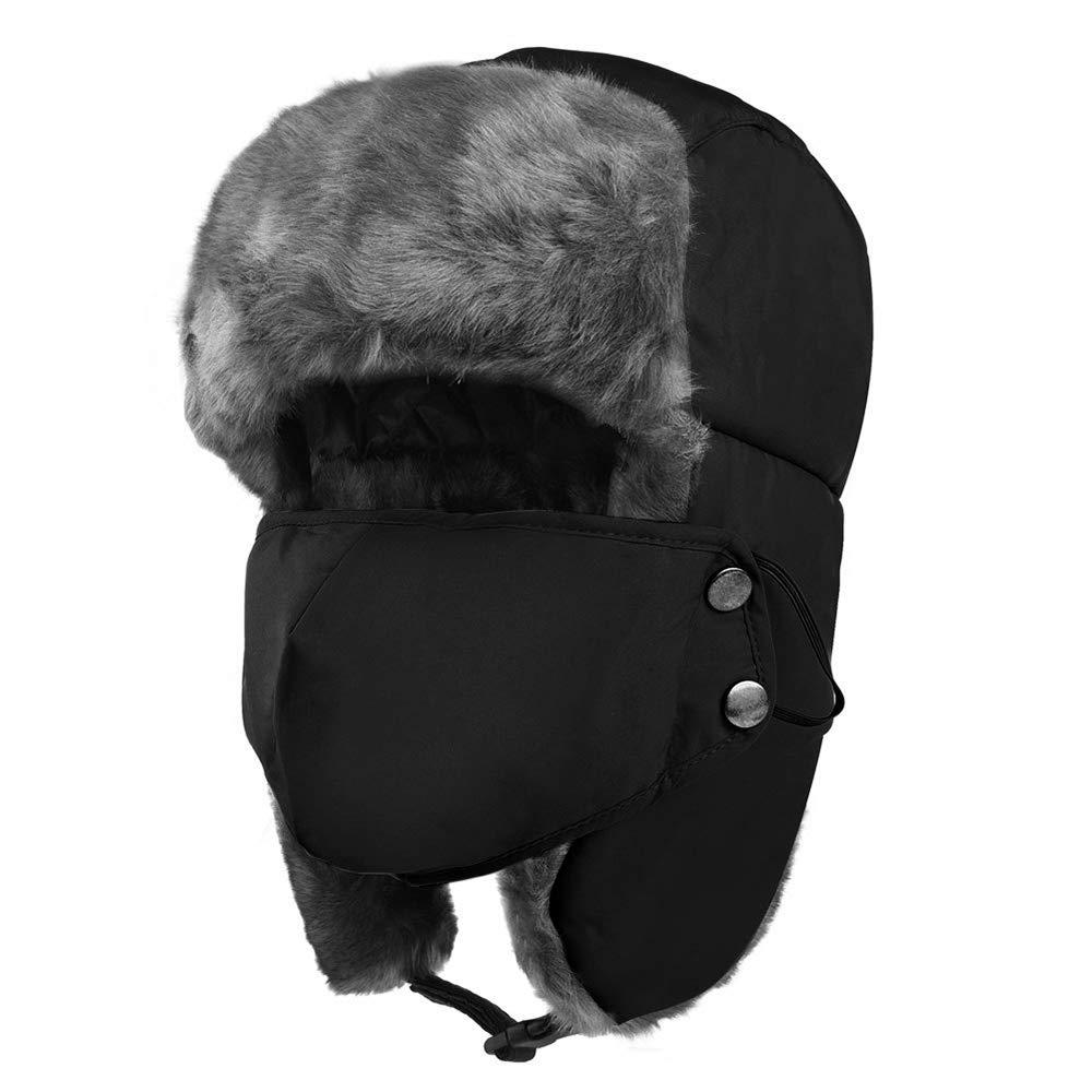36b0ecdcb Unisex Winter Ear Flap hat, Trooper, Trapper, Bomber Hat, Faux Leather  Aviator Pilot Cap ushanka,Waterproof & Windproof for Hunting Skiing