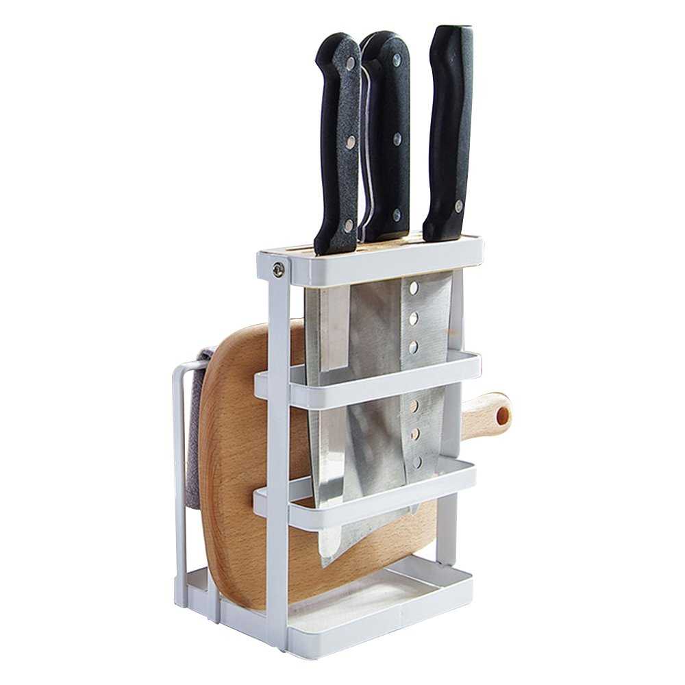 GeLive Metal Knife Block Cutting Board Chopper Hoder Drying Rack Kitchen Storage Organizer Counter Display Stand White