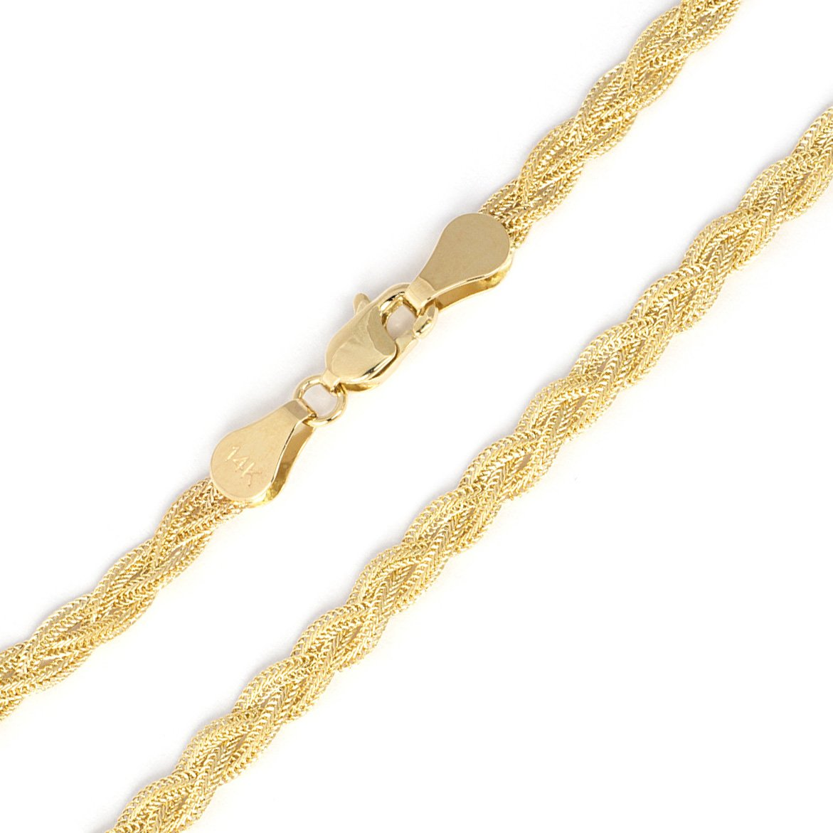 14k Yellow Gold 3.5mm Braided Fox Chain Anklet, 10''