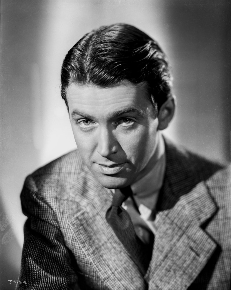 Posterazzi Poster Print Collection James Stewart Posed in Black Silk Necktie and Grey Linen Ribbed Sport Coat While Looking Straight Photo, (8 x 10), Multicolored