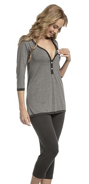 Mujer Pijama Premamá Camiseta Lactancia Pantalones Recortadas. 213p (Mezcla De Grises