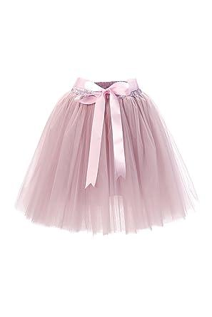 0068251b2b7fbf MisShow Damen Tüllrock rosa Mini Tutu Rock Knielanges Rock tüllrock Alt-Rosa:  Amazon.de: Bekleidung