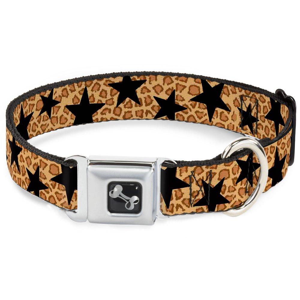 Buckle-Down 13-18  Cheetah Stars Tan Black Dog Collar Bone, Wide Small