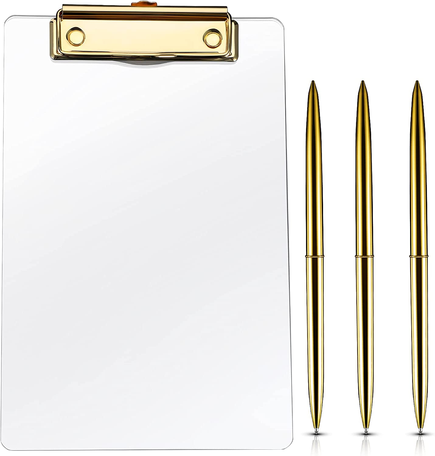 4 Pieces A5 Clear Acrylic Plastic Clipboard and Pen Set, Including with Shinny Gold Finish Clip Thick Clipboard, 3 Gold Ballpoint Pen for Modern Arts Lover, Office, School and Home