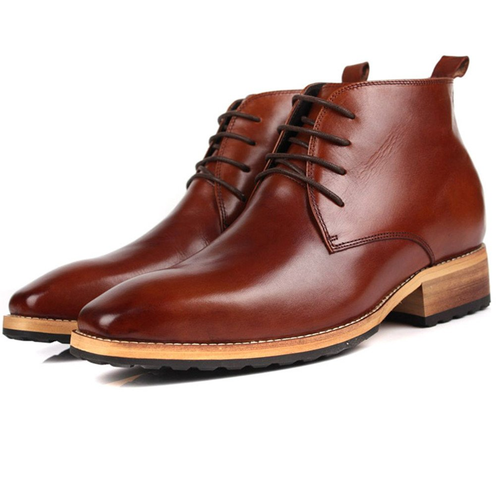 DeliverSmile Brown Mens Cowhide Genuine Leather Height Increasing Round Toe Lace-up Oxford Shoes (Size 10)