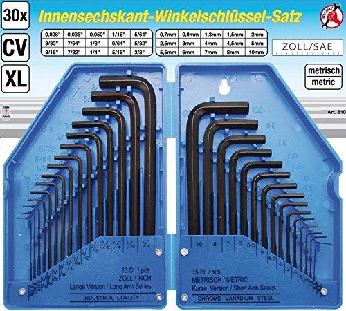 Kraftmann 810 Internal Hexagon L-Type Key Set Blue//Black//Silver