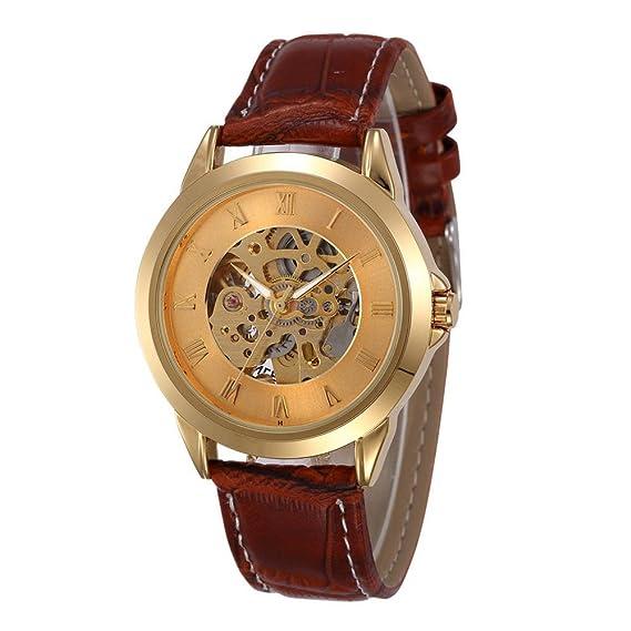 forsining automático para hombre self-wind Classic Reloj de Muñeca Esqueleto Dorado con funda, Dial y banda de piel marrón - Henry: Amazon.es: Relojes