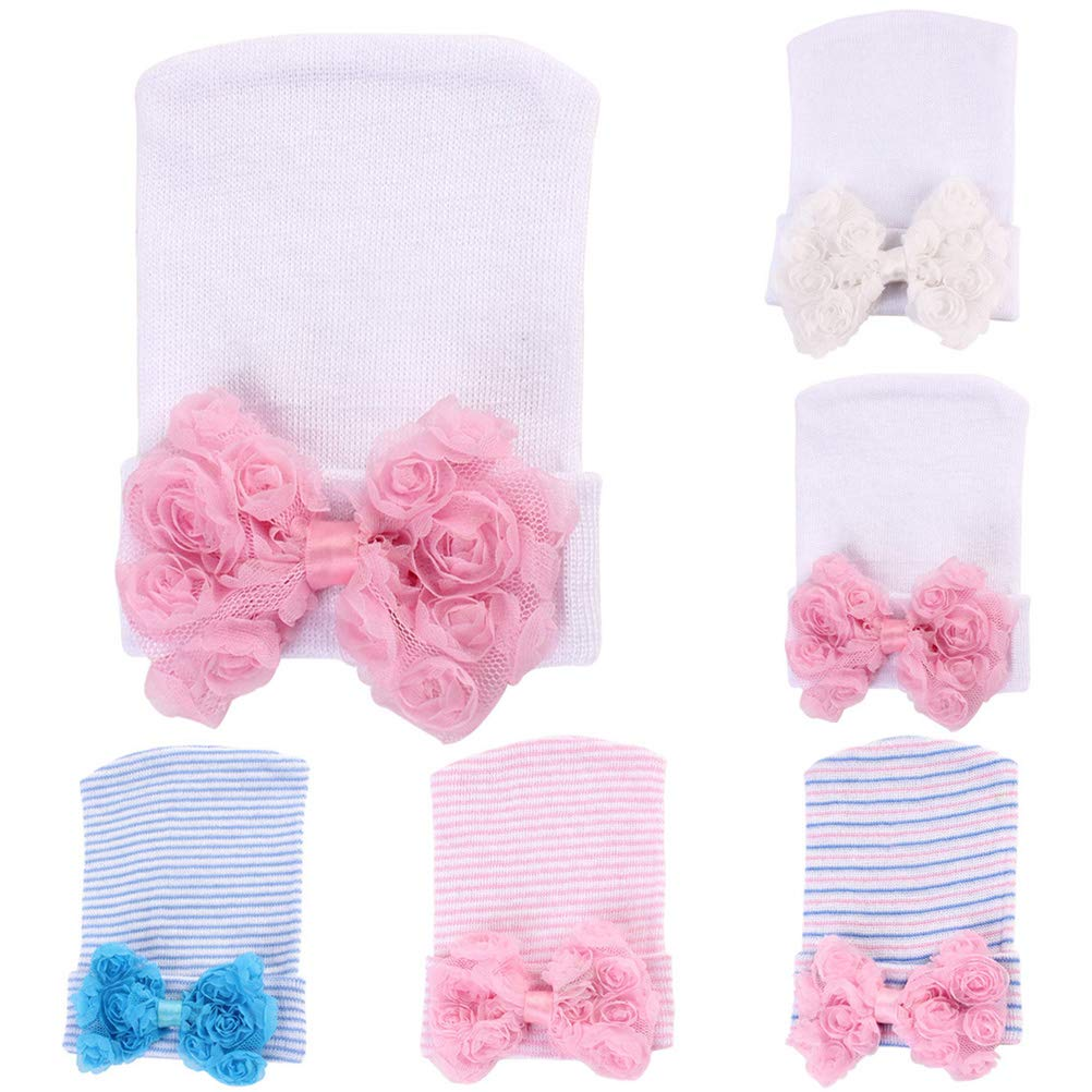 White and Pink Stylish Rose Big Bowknot Knitted Cap Headwear Fetus Cap for Baby Kids Children