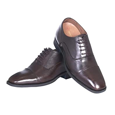 2fab51f42 Revox Height Increasing Brown Leather Formal Elevator Lace-Up Shoes for Men  with Hidden Heel 3 Inches: Buy Online at Low Prices in India - Amazon.in