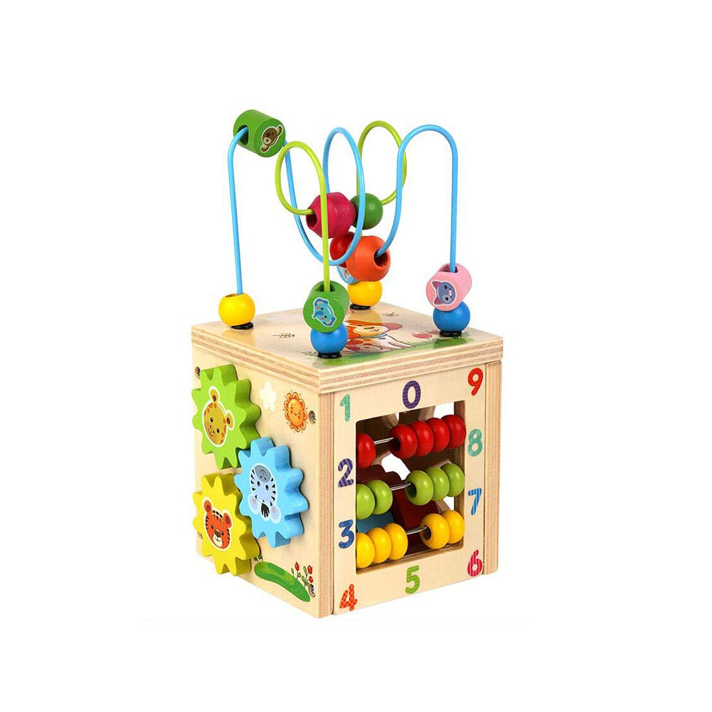 Dall Bead Maze Cube Learning Toys Wooden Cube Activity Centre Baby 5-in-1 Multifunction for Kids Toddlers