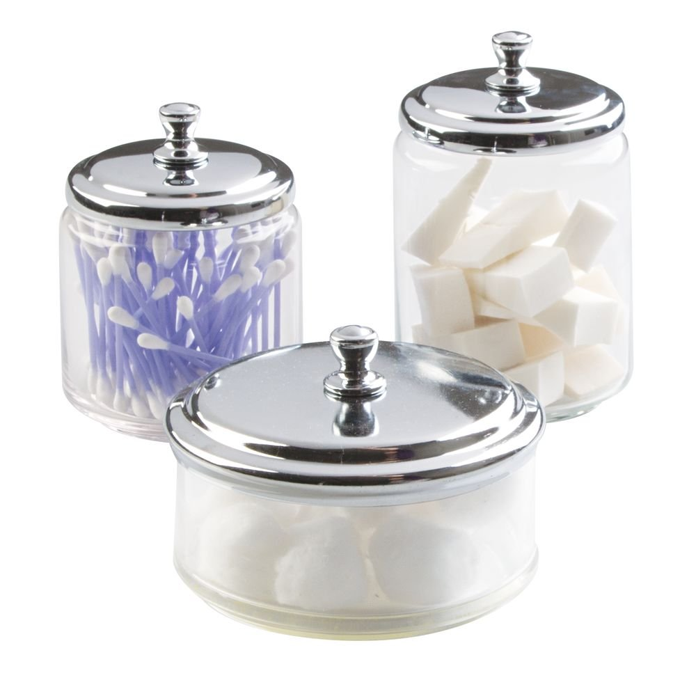 3-Piece York Glass Apothecary Cosmetic Storage Jar Set for Makeup, Beauty Products, Cotton Balls, Hair Accessories, Jewelry - Clear/Chrome InterDesign