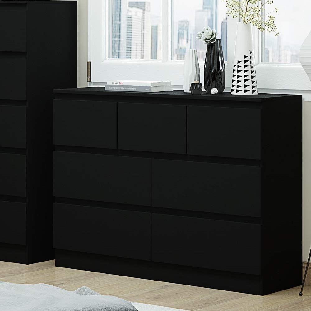 Matt Black Large 7 Drawer Merchant Chest Bedroom Furniture Modern Style