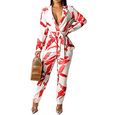 2 Piece Outfits for Women Long Sleeve Solid Color Blazer with Pants Casual Elegant Business Suit Sets: Clothing