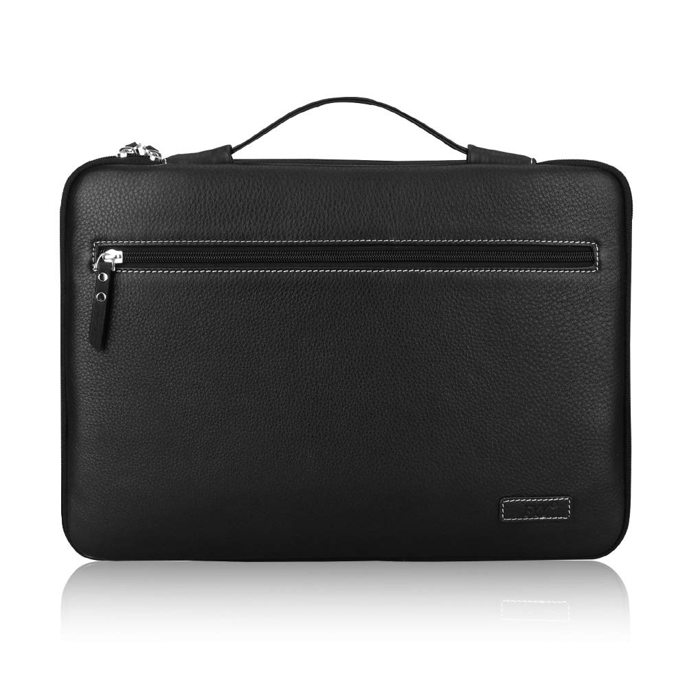 FYY 12-13.5'' [Genuine Leather] Laptop Sleeve Case Cover Bag for MacBook Pro/MacBook Air/iPad Pro 12.9 2018 2017 2016, Laptop Bag for 12''-13.5'' Surface Lenovo Dell HP ASUS Acer Chromebook Black