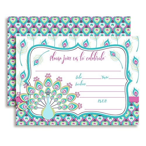 Amanda Creation Pink and Teal Peacock Themed Party Fill in Style Invitations, Set of 20 Including envelopes