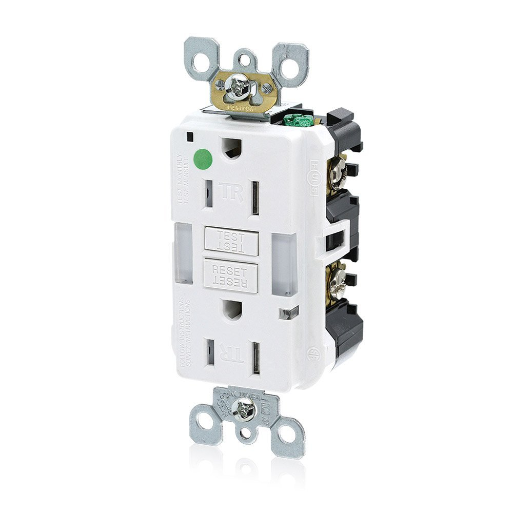 Leviton GFNL1-HGW 15A-125V Hospital Grade Tamper-Resistant Guide Light Duplex Self-Test GFCI Receptacle, 15-Amp, White