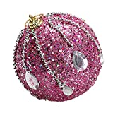 3.15in Christmas Ball Ornament Party Xmas Tree Pendant Rhinestone Shatterproof Christmas Decorations (Hot Pink, 80mm)