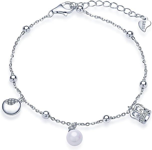 d72bd4811ec7 Infinite U Fashion corona luna Beads – Pulsera plata de ley 925 Circonita  perla ajustable cadena de Link