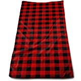 Malsjk8 Custom Rustic Red Black Buffalo Check Plaid Pattern Cotton Bath Towels for Hotel-Spa-Pool-Gym-Bathroom - Super Soft Absorbent Ringspun Towels