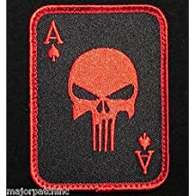 Punisher Ace Of Spades Death Card Usa Tactical Black Ops Red Velcro Morale Patch