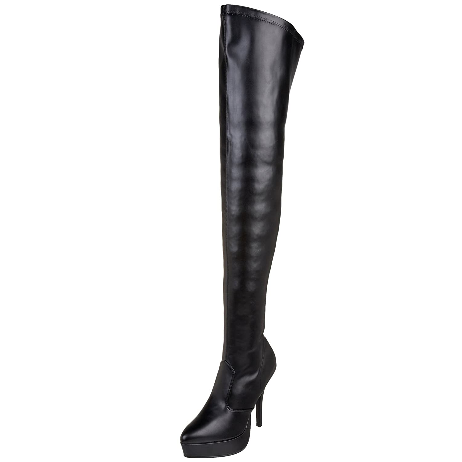 durable service womens thigh high boots 5 inch heels black