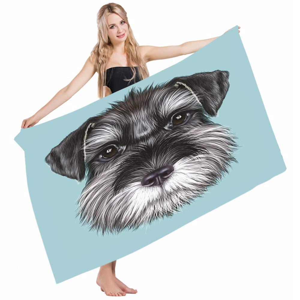 Mugod Beach Towel Bath Towels Animal of a Cute Baby Schnauzer on Blue Puppy Portrait Yoga/Golf/Swim/Hair/Hand Towel for Men Women Girl Kids Baby 64x32 Inch