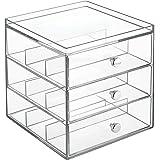 InterDesign Drawers Brillenbox | stapelbare Aufbewahrungsbox für Brillen, Lesebrillen & Sonnenbrillen | Schubladenbox mit 3 Schubladen | Kunststoff transparent