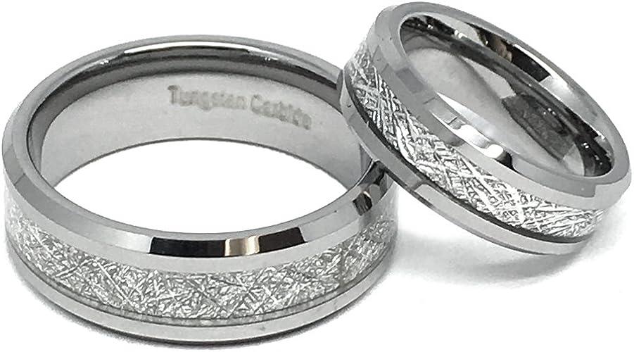 FREE SHIPPING Custom Engraved 8mm Silver Tungsten Meteorite Wedding Band Tungsten Meteorite Ring with Imitation Meteorite Texture Inlay